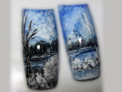 Pose d'ongle paysage hiver